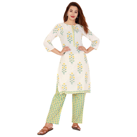 White Color Cotton Women's Kurta and Palazzo Set - RM6