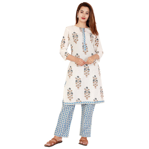 White Color Cotton Women's Kurta and Palazzo Set - RM7