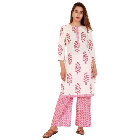 White Color Cotton Women's Kurta and Palazzo Set - RM8