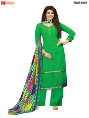 Green Color 60 grm Georgette Semistitched Salwar