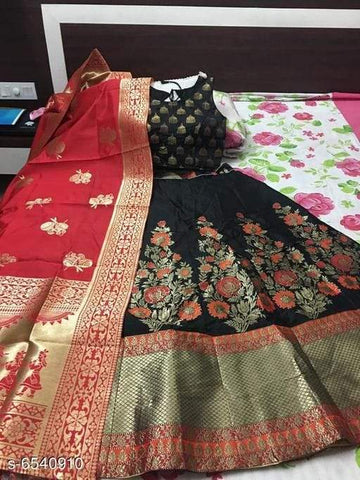 RED D- BLACK Color Banarashi silk dyeing material  Lehenga - ROCKSTAR-01