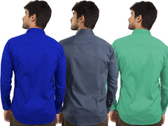 3 Combo Shirts Royal Blue, Navy Blue and Parrot Green - 1ABF-RB-NB-PG