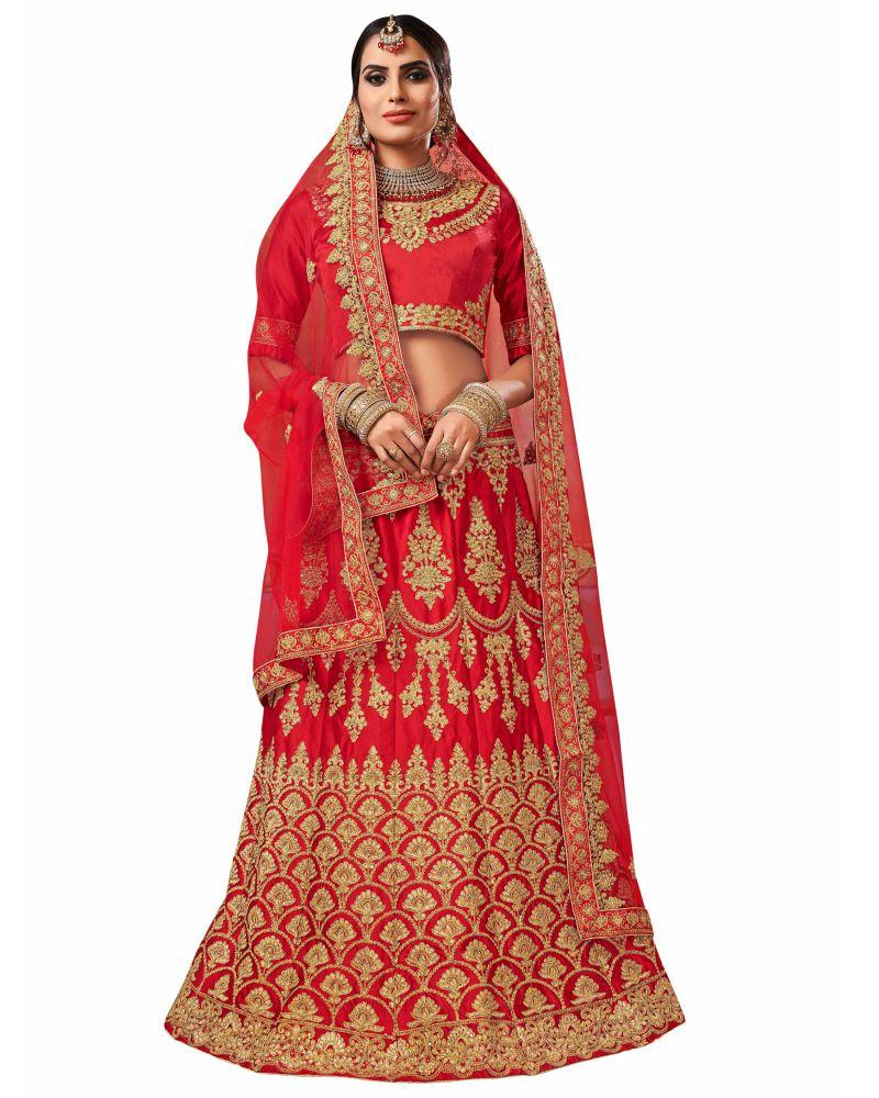 Buy Red Color Silk Satin Semi Stitched Lehenga