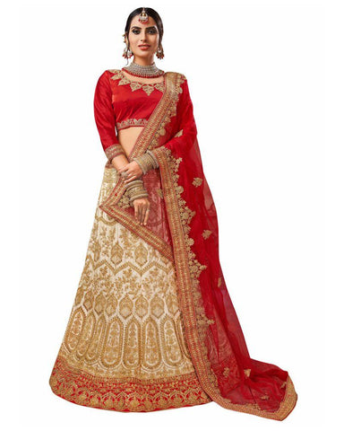 Beige Color Silk Satin Semi Stitched Lehenga - RQ1002