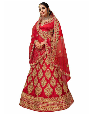 Red Color Silk Satin Semi Stitched Lehenga - RQ1003