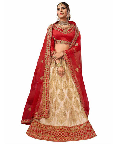 Beige Color Silk Satin Semi Stitched Lehenga - RQ1004