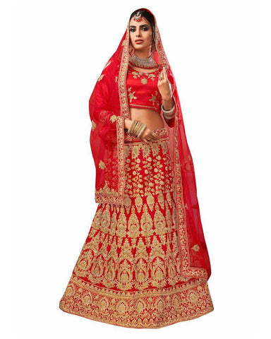 Red Color Silk Satin Semi Stitched Lehenga - RQ1005