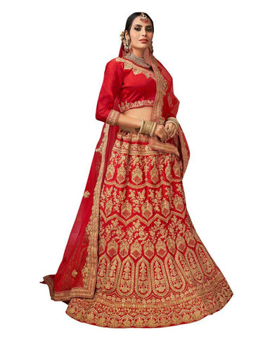 Red Color Silk Satin Semi Stitched Lehenga - RQ1006