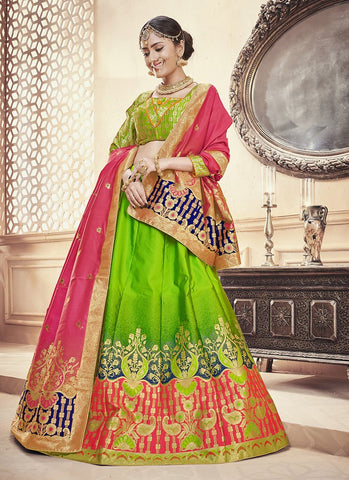 Parrot Green Color  Banarasi Silk Jequard Semi-Stitched Lehenga - RS1369