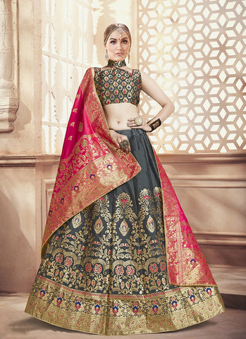 Dark Grey Color  Banarasi Silk Jequard Semi-Stitched Lehenga - RS1370