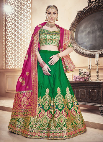 Green Color  Banarasi Silk Jequard Semi-Stitched Lehenga - RS1371