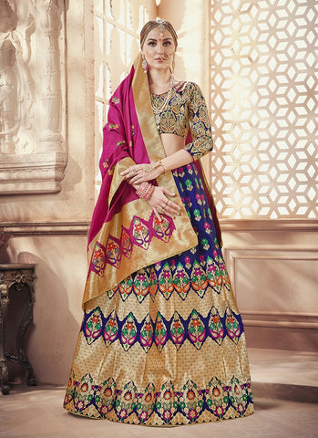 Navy Blue Color  Banarasi Silk Jequard Semi-Stitched Lehenga - RS1372