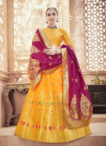 Yellow Color  Banarasi Silk Jequard Semi-Stitched Lehenga - RS1373