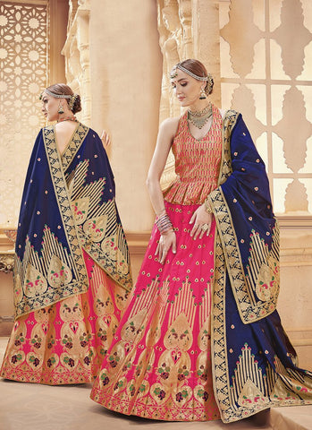 Pink Color  Banarasi Silk Jequard Semi-Stitched Lehenga - RS1374