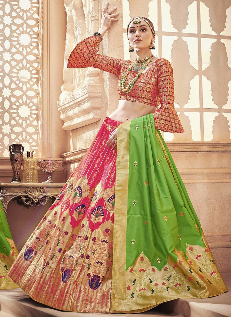 Buy Pink Color  Banarasi Silk Jequard Semi-Stitched Lehenga