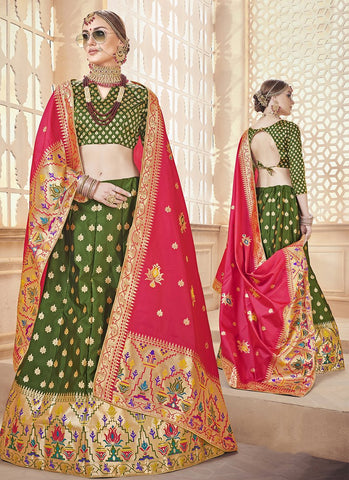 Green Color  Banarasi Silk Jequard Semi-Stitched Lehenga - RS1376