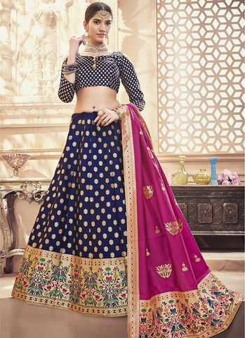Navy Blue Color  Banarasi Silk Jequard Semi-Stitched Lehenga - RS1377