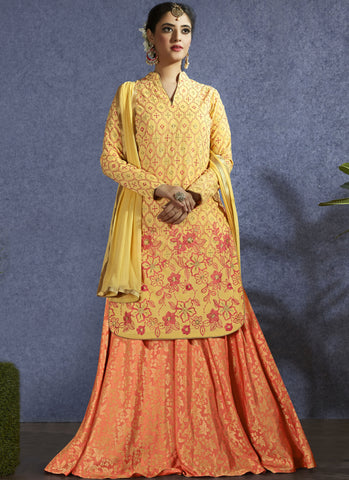 yellow Color Muslin Semi-Stitch  Salwar Suit - RS1383