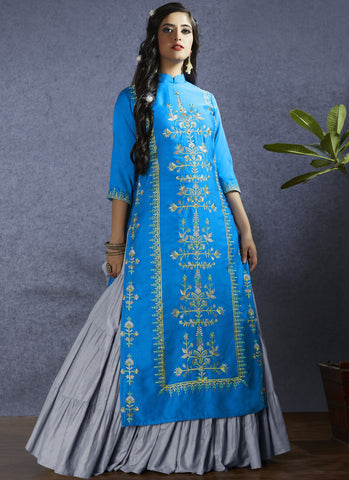 Dark Sky Blue Color Modal Satin Semi-Stitch  Salwar Suit - RS1385
