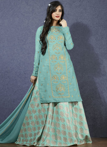 Sky Blue Color Linen Satin Semi-Stitch  Salwar Suit - RS1387