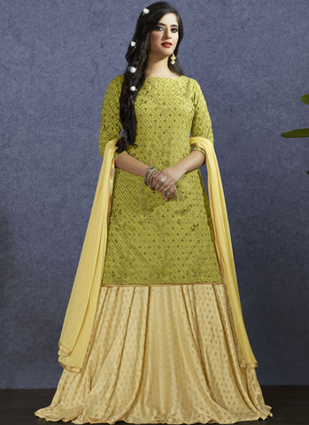 Light Green Color Muslin Semi-Stitch  Salwar Suit - RS1388