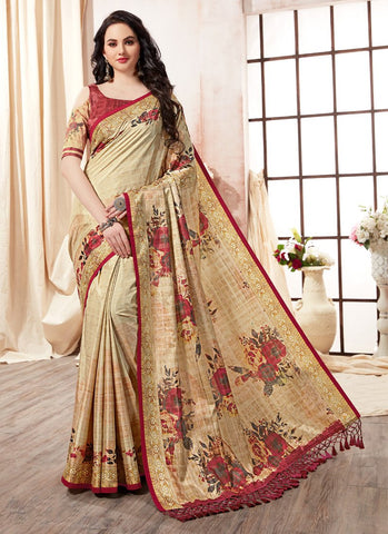 Cream Color Kanjeevaram Silk Saree - RS1433