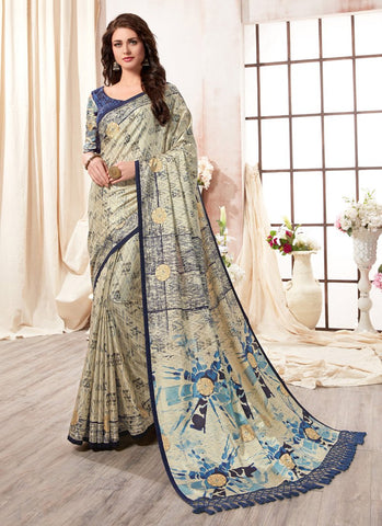 Sky Color Kanjeevaram Silk Saree - RS1434