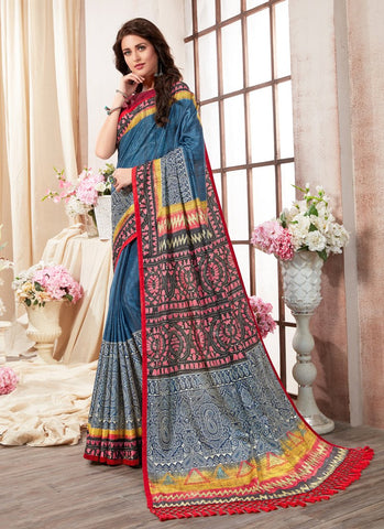 Multi Color Kanjeevaram Silk Saree - RS1438