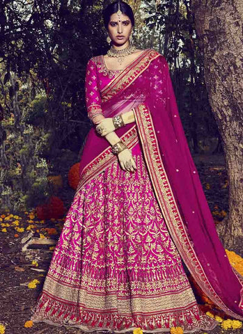 Pink Color Tafetta Women's Stitched Lehenga - RS1510