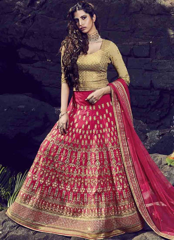 Pink Color Bhagalpuri Women's Stitched Lehenga - RS1511