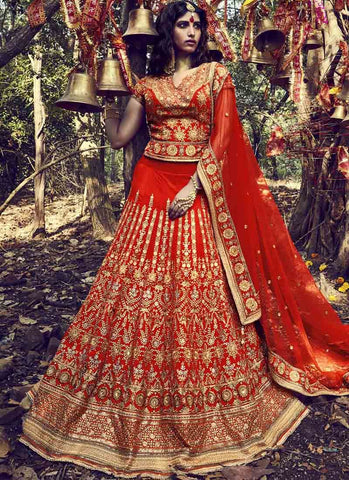 Red Color Crystal Silk Women's Stitched Lehenga - RS1512