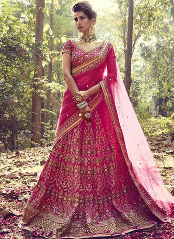 Pink Color Bhagalpuri Women's Stitched Lehenga - RS1513