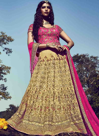 Golden Color Bhagalpuri Women's Stitched Lehenga - RS1514