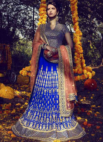 Blue Color Bhagalpuri Women's Stitched Lehenga - RS1515