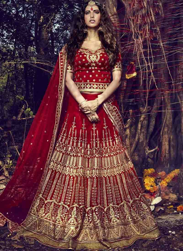 Buy Maroon Color Bhagalpuri Women's Stitched Lehenga