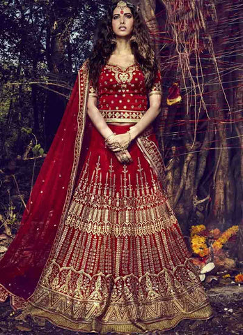 Maroon Color Bhagalpuri Women's Stitched Lehenga - RS1516
