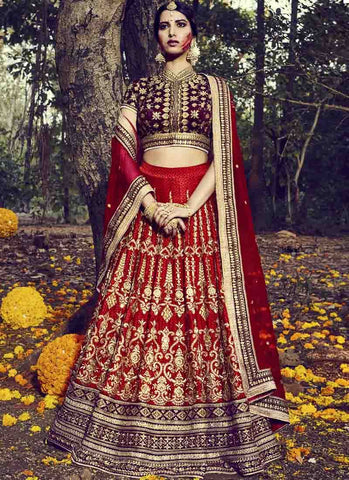 Maroon Color Paris Silk Women's Stitched Lehenga - RS1517