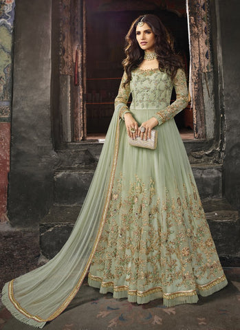 Pastel Green Color Anarkali Women's Semi-Stitched Gown Suit - RS1578
