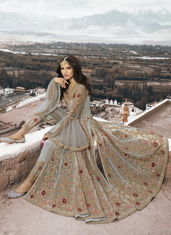 Grey Color Anarkali Women's Semi-Stitched Gown Suit - RS1579