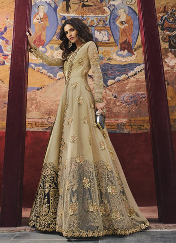 Beige Color Anarkali Women's Semi-Stitched Gown Suit - RS1580