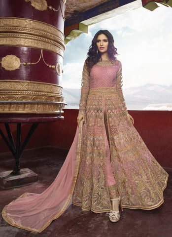 Pink Color Anarkali Women's Semi-Stitched Gown Suit - RS1583