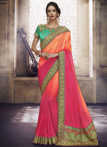 Peach and Pink Color Satin Silk Saree - RS1594