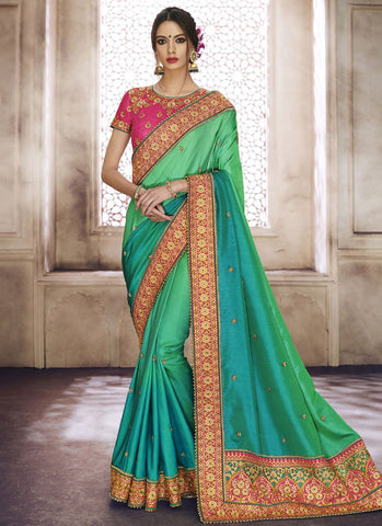 Green Color Satin Silk Saree - RS1595