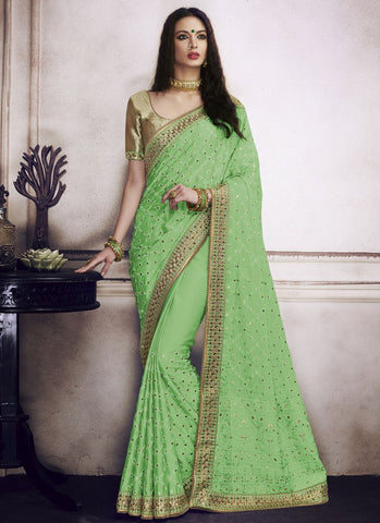Green Color Satin Silk Saree - RS1598