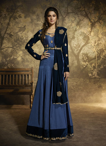 Blue Color Satin Silk Women's Semi-Stitched Kurti Suit - RS1608