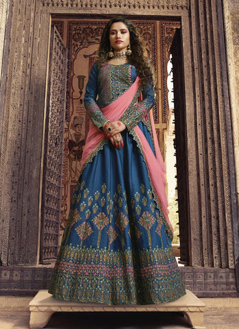 Royal Blue Color Barfi Silk Women's Semi-Stitched Lehenga - RS1615