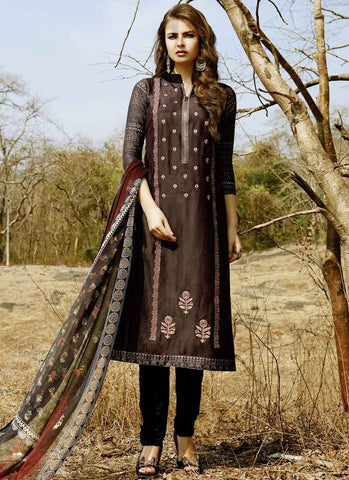 Brown Color Cotton Satin Women's Semi-Stitched Salwar - RS1624