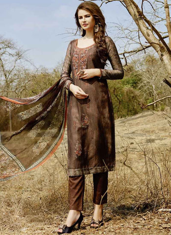 Brown Color Cotton Satin Women's Semi-Stitched Salwar - RS1626
