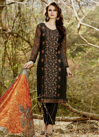 Black Color Cotton Satin Women's Semi-Stitched Salwar - RS1628