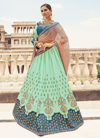 Sea Green and Turquoise Color Barfi Silk Women's Semi-Stitched Lehenga - RS1650